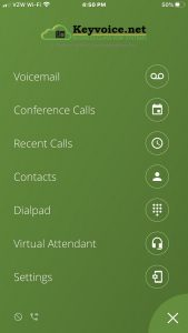 Keyvoice.net Mobile App home screen options