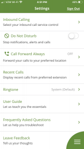 Keyvoice.net Mobile App settings screen