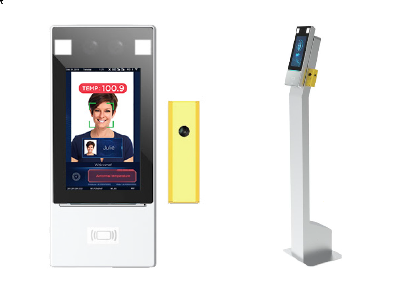 Thermal detection kiosk with facial recognition.